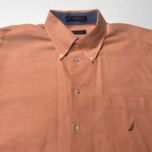 NAUTICA Mens Large Peach Long Sleeve Dress Shirt